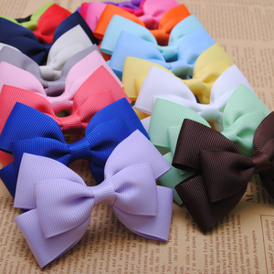 2 pcs high quality 3 inches cute solid grosgrain girls hair ribbon bows with alligator clips kids hairpin hair accessories(China)