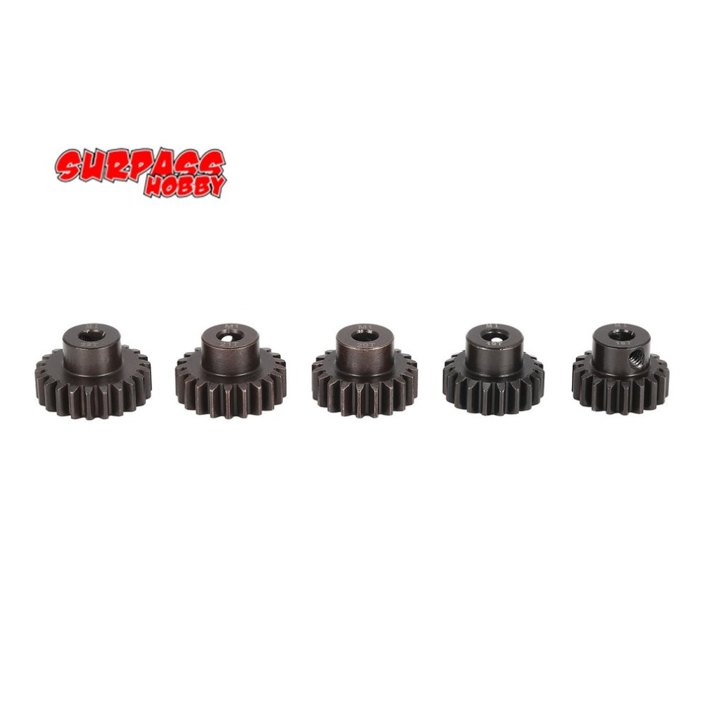 SURPASS HOBBY 5Pcs M1 5mm 18T 19T 20T 21T 22T Metal Pinion Motor Gear Set for 1/8 RC Car Truck Brushed Brushless Motor hot sale rc 1 10th 11184 hsp 1 10 gear differential main gear 64t 11181 motor gear 21t teeth car truck