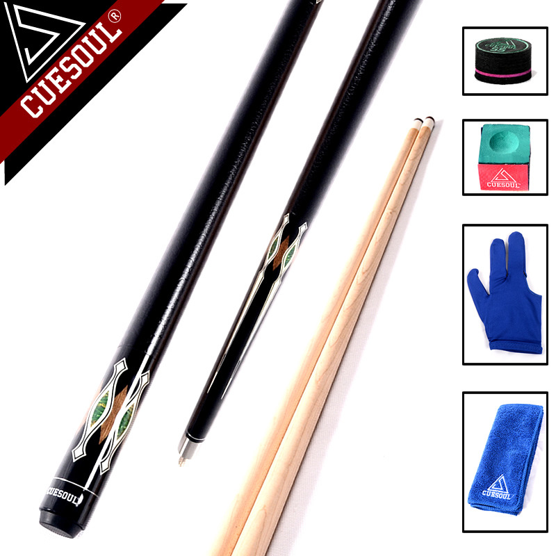CUESOUL 13mm Maple Wood 8-ball Ball Arm 1/2 Split Cue Pool Billiard Cue Stick Center Joint With Free T