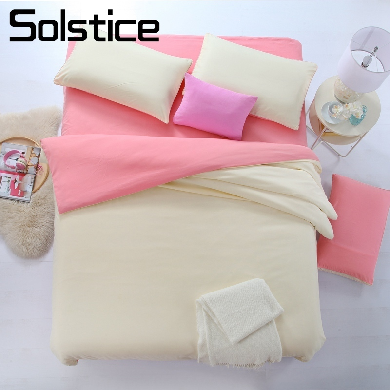 Solstice Home Textile King Twin Duvet Cover Pillowcase Bed Flat Sheet Solid Ivory-white Bedding Set Woman Teen Kid Girl Bedlinen