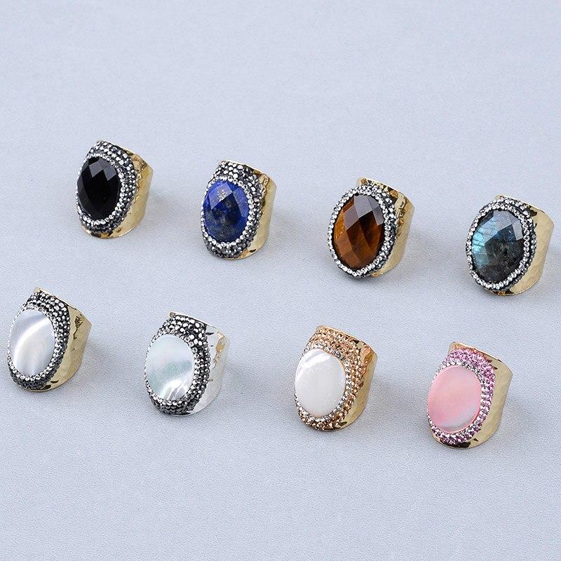 c0fa16031cef BOJIU de moda oro y plata grandes anillos de piedra para las mujeres ...