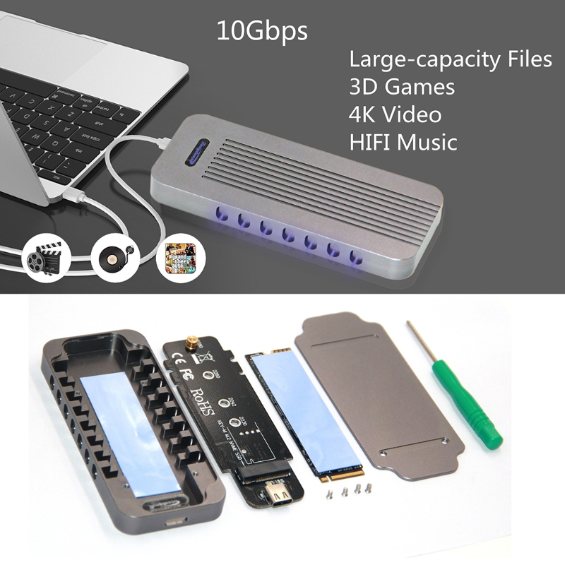Aluminum NVMe PCIE USB 3.1 HDD Enclosure M.2 To USB SSD Hard Disk Drive Case Type C 3.1 M KEY Connector HDD Box For Desktop PC