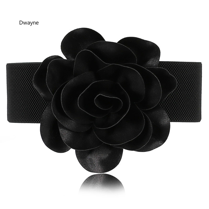 Korean Fashion 11CM Flower Elastic Stretch Waist Belt Wide Stretch Waistbands Buckle Flower Dress Wasit Belt For Women