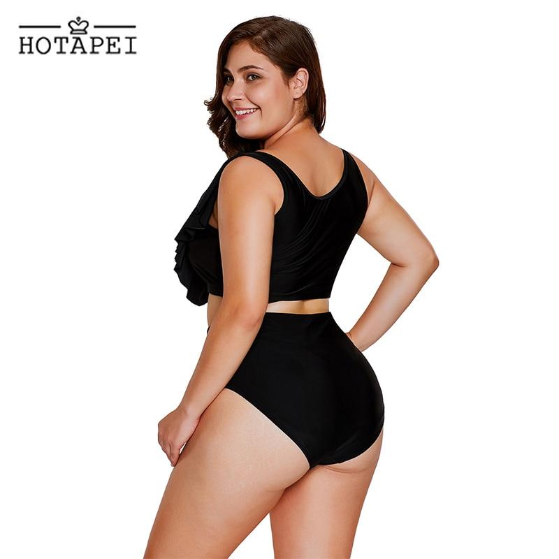 52f8db753c6 Hotapei New Plus Size Swimwear 3XL Black Frill Tankini Crisscross High  Waist Swimsuit LC410339 women sexy Bathing Suit beachwear-in Bikinis Set  from Sports ...