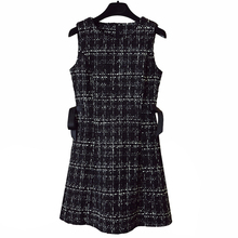 PERHAPS U Tweed Dress Elegant Side bow A-line Dresses Black Plaid slee