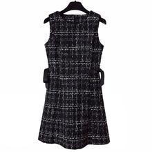 PERHAPS U Tweed Dress Elegant Side bow A-line Dresses Black