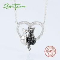Две серебряные Товары для кошек кулон Цепочки и ожерелья Цепь для женщина черный-шпинелей Белый Цирконий 925 стерлингового серебра партия Мо...