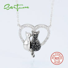 Silver Twin Cats Pendant Necklace Chain for Woman Black-Spinels White Cubic Zirconia 925 Sterling Silver Party Fashion Jewelry(China)