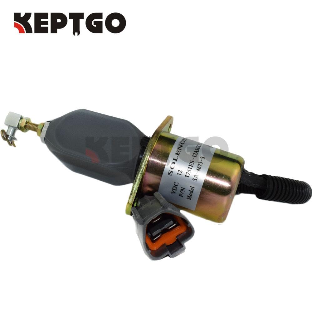 Fuel Stop Solenoid 1751ES-12A3UC12B1S SA-4673-S 12V For Yanmar 4NTE94 Engine Hyundai Small Excavator R60-5 12v excavator fuel stop solenoid sa 4673 s shut off solenoid 129953 77811 for hyundai r210 5