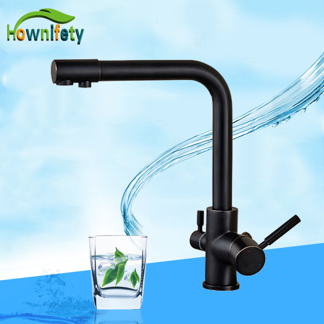 Blackened Finish Dual Spout Kitchen Faucet Pure Water Mixer Taps ...