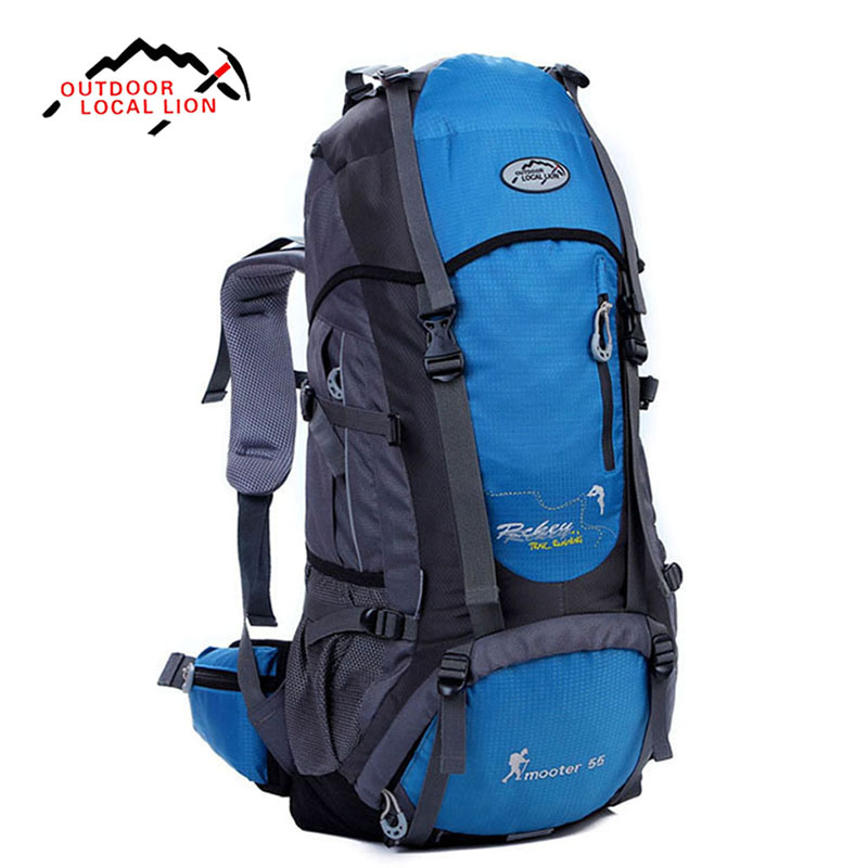 LOCAL LION 55L Large Capacity Mountaineering Bag Multi-functional Waterproof Outdoor Hiking Camping Travel Backpack