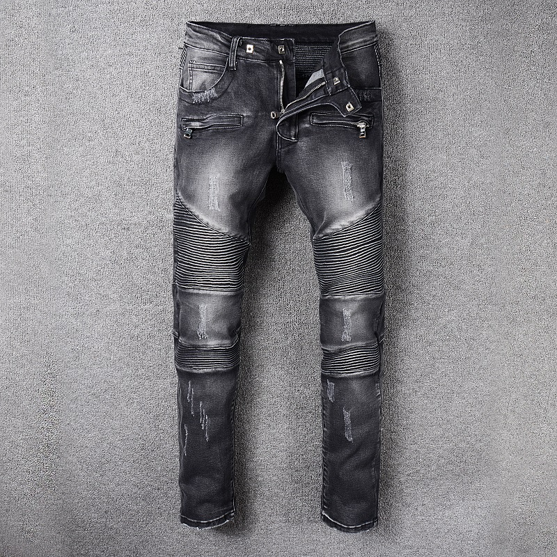 new Denim Moto Pants Biker Jeans Male Brand Mens European and American style Fashion Slim Skinny elasticity jeans size 28-42 sulee brand 2017 new men skinny jeans stretch fashion classic blue and black slim brand jeans male trousers plus size 38 40 42