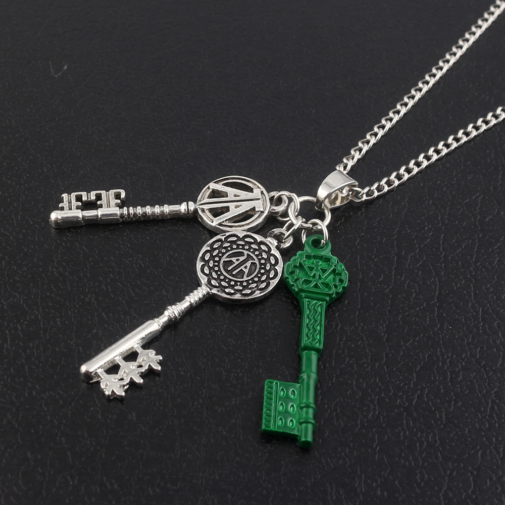 RJ Hot Ready Player One Silver Green Key Double A Letter Pendants Necklaces Vintage Game Cosplay Choker Women Men Fans Gift