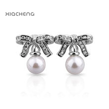 394d06660 1 Pairl 925 Sterling Silver Stud Earrings Fashion Bowknot with Pearl  Earrings For Women Wedding Party Jewelry ER01