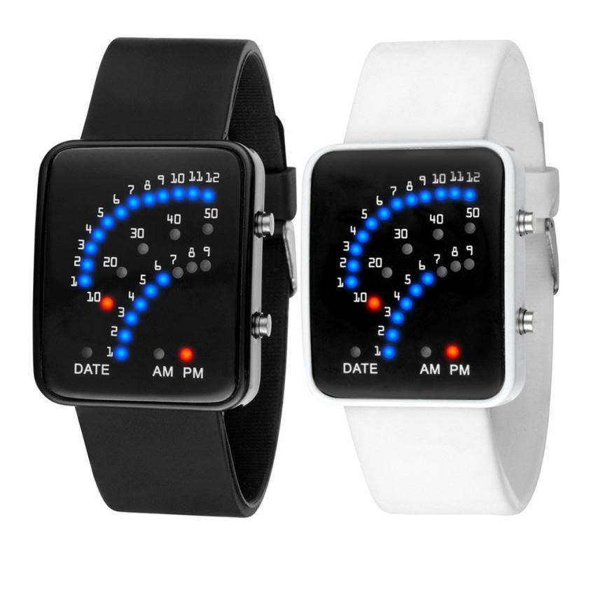 Essential New Women Men Futuristic Japanese Style Multicolor LED Sport Wrist watches Relojes Bangle Bracelet Oct23