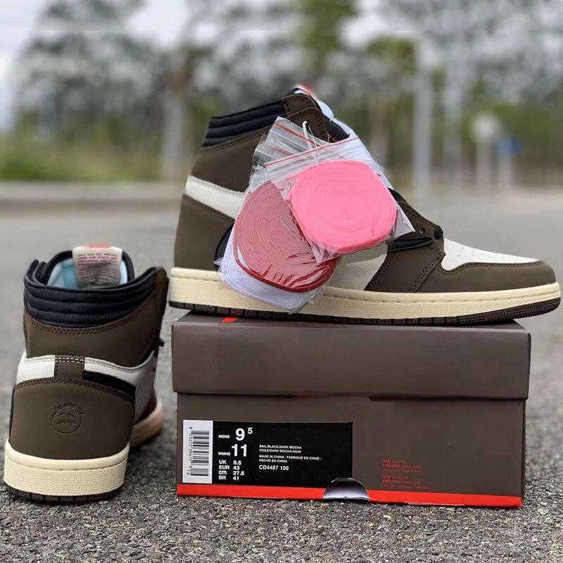 Nouvelle mise à jour Travis Scotti x chaussures de basket-ball 1 haute OG TS SP 2019 daim mode Unique Designer Bronze noir hommes chaussures de sport