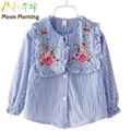 Moon Morning Kids Blouse 12M~14T Cotton Embroidery Floral Child Clothes Spring Long Sleeve Striped Turn-down Collar New Clothes