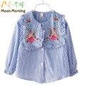 Moon morning crianças blusa 12 m ~ 14 t criança roupas primavera de manga longa de algodão bordado floral listrado turn-down colarinho roupas novas
