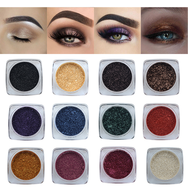 PHOERA Metallic Diamond Single Color Payoff Shimmer Eyeshadow Makeup Palette Glitters Powder Eye Shadow Pigmented Smoky Eyelids 3