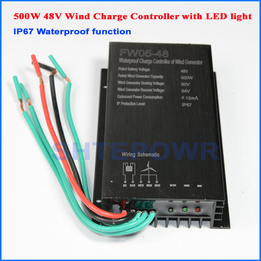 500W 48V wind charger controller for small home power wind system 500W regulator with LED or without LED choices free shipping wind controller battery charger 500w 48v with led wind power generator system use