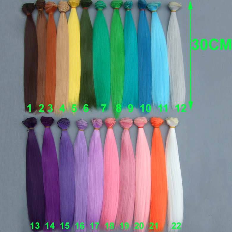 30cm Straight Long Doll Hairs Pink White Blue Brown Orange Yellow Color BJD Doll Trees Diy Fabric Art Doll Wigs