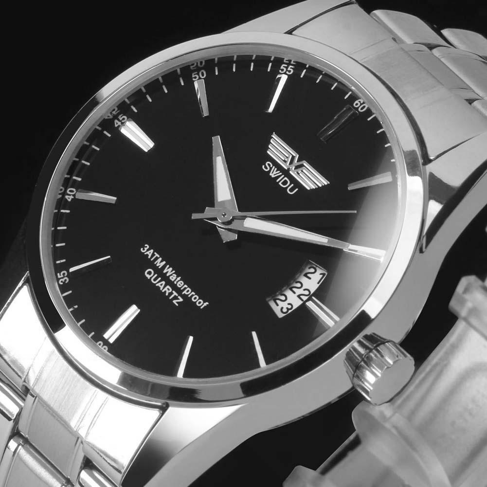 Stainless Steel Watch Band Date Analog Quartz Sport Wrist Watch Leather Bracelets Unique Designer Dress Quzta Wristwatches
