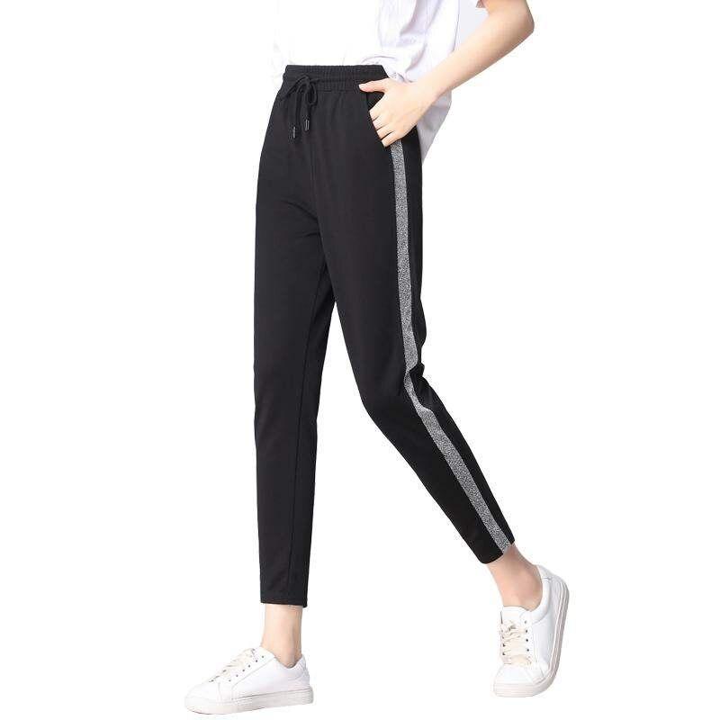 FSDKFAA Spring Sweatpants Women Casual Harem Pants Side Striped Pencil Pants Black Elastic High Waist Pants Female Plus Size