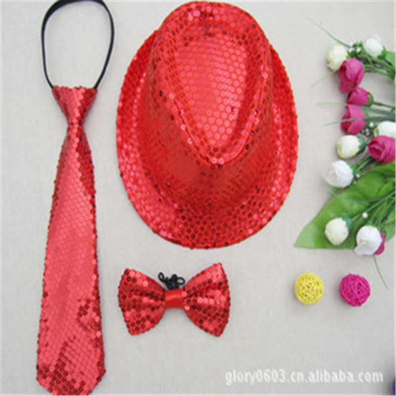 ... Hat + Tie + Bow Tie 3in1 Set Unisex Adult Bling Jazz Caps Hat Sequin  Fedora ... 096933265399