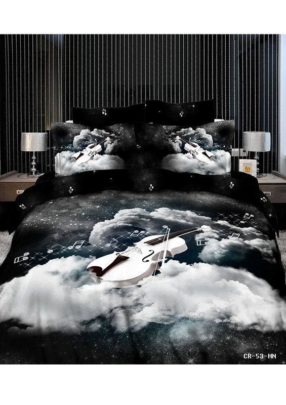 3d Music Note Black And White Bedding Set Queen Size Comforter Duvet