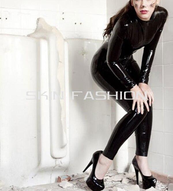 Женская Экзотическая одежда из латекса плотно облегающий черный