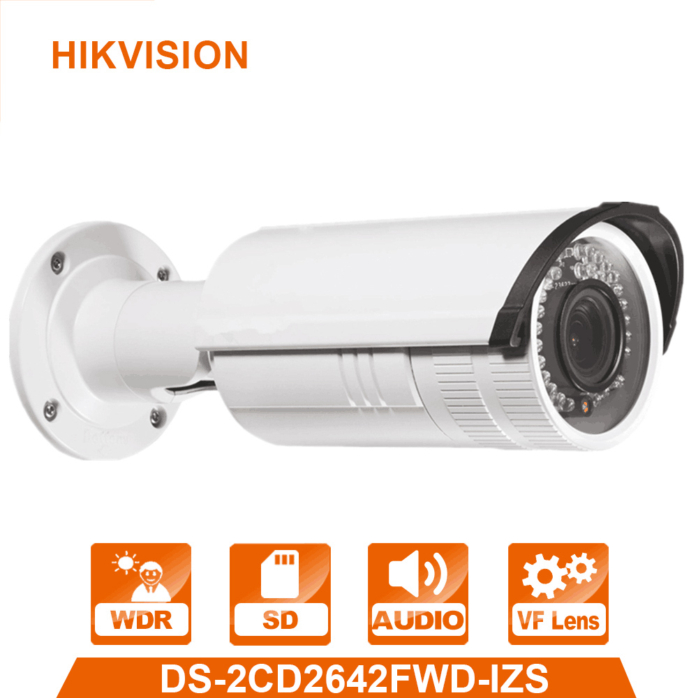 English Version 4MP IP Camera DS-2CD2642FWD-IZS WDR Bullet Network IP CCTV Camera Vari-focal Motorized Lens POE hikvision 4mp ip camera ds 2cd1641fwd i 4mp vari focal network camera hd 1080p real time video ir bullet poe cctv camera