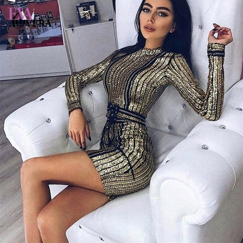Tobinoone Autumn Winter Black Long Sleeve Sequins Dress 2017 Sexy Bodycon Sheath Gold Pattern Party Nightclub Hot Dresses