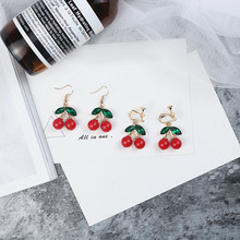 цена на SUKI Korean Romantic Sweet Cute Green Leaf Long Red Cherry Clip Earrings No Hole Wihout Piercing Earrings For Women Young Girls