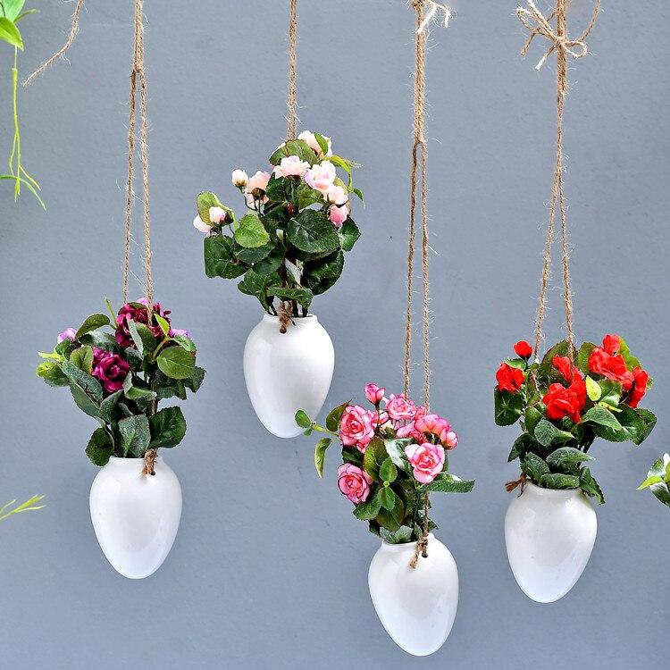 flower pots planters home decor ceramic pots egg shape hanging
