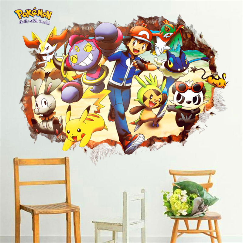 3d Pokemon Go Pikachu Red through wall stickers for kids room bedroom diy wall art decals cartoon movie game posters decor