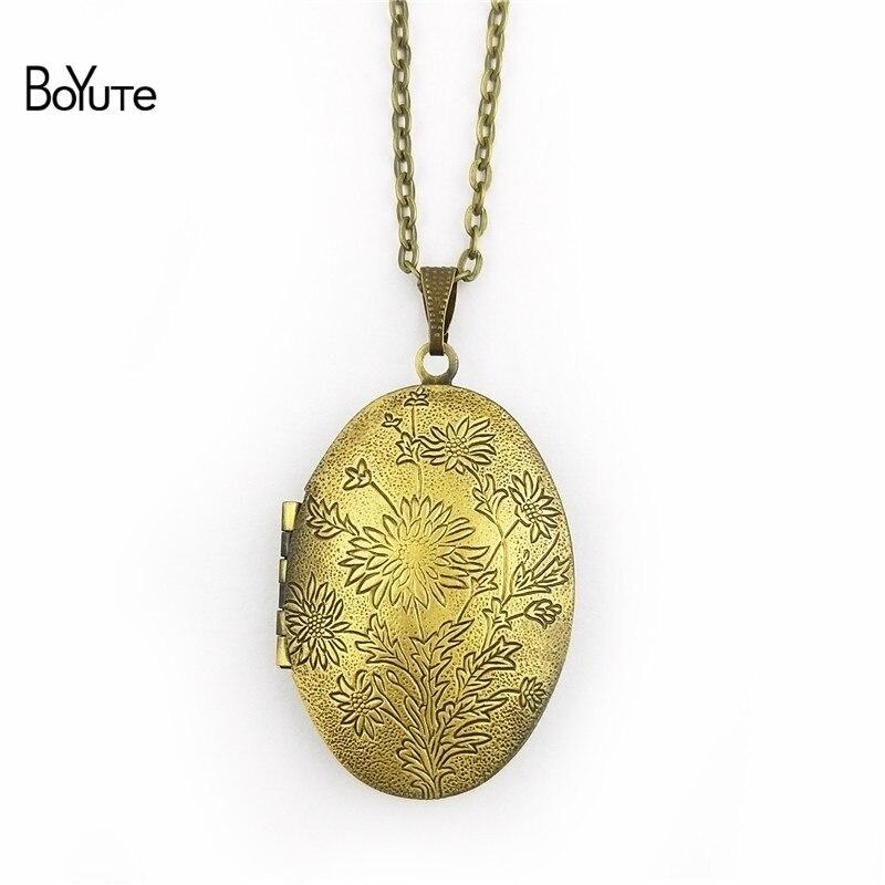 BoYuTe Retail 1 Piece 70CM Chain 2338MM Oval Floating Photo Locket Necklace Pendant Open Necklace (4)