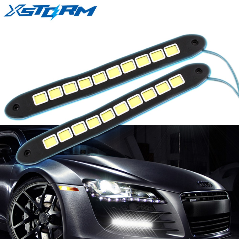 17CM x 2 Aluminum High Power 6W White Slim COB LED DRL Daytime Running Light 12V