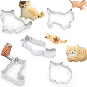 5pcs/set Animal Pet Cat Cookie Cutter Mold 3D Sugar Craft Pastry Biscuit Fondant Cake Baking Mould DIY Decorating Tool