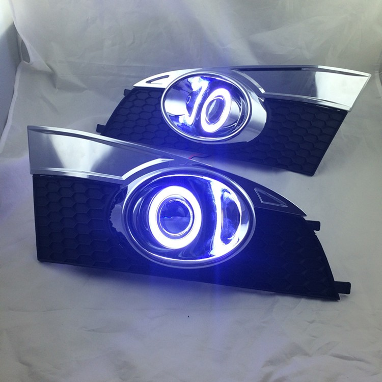 New! super bright DRL COB angel eye (6 colors ) + projector lens + halogen fog lamp for chevrolet captiva 2014
