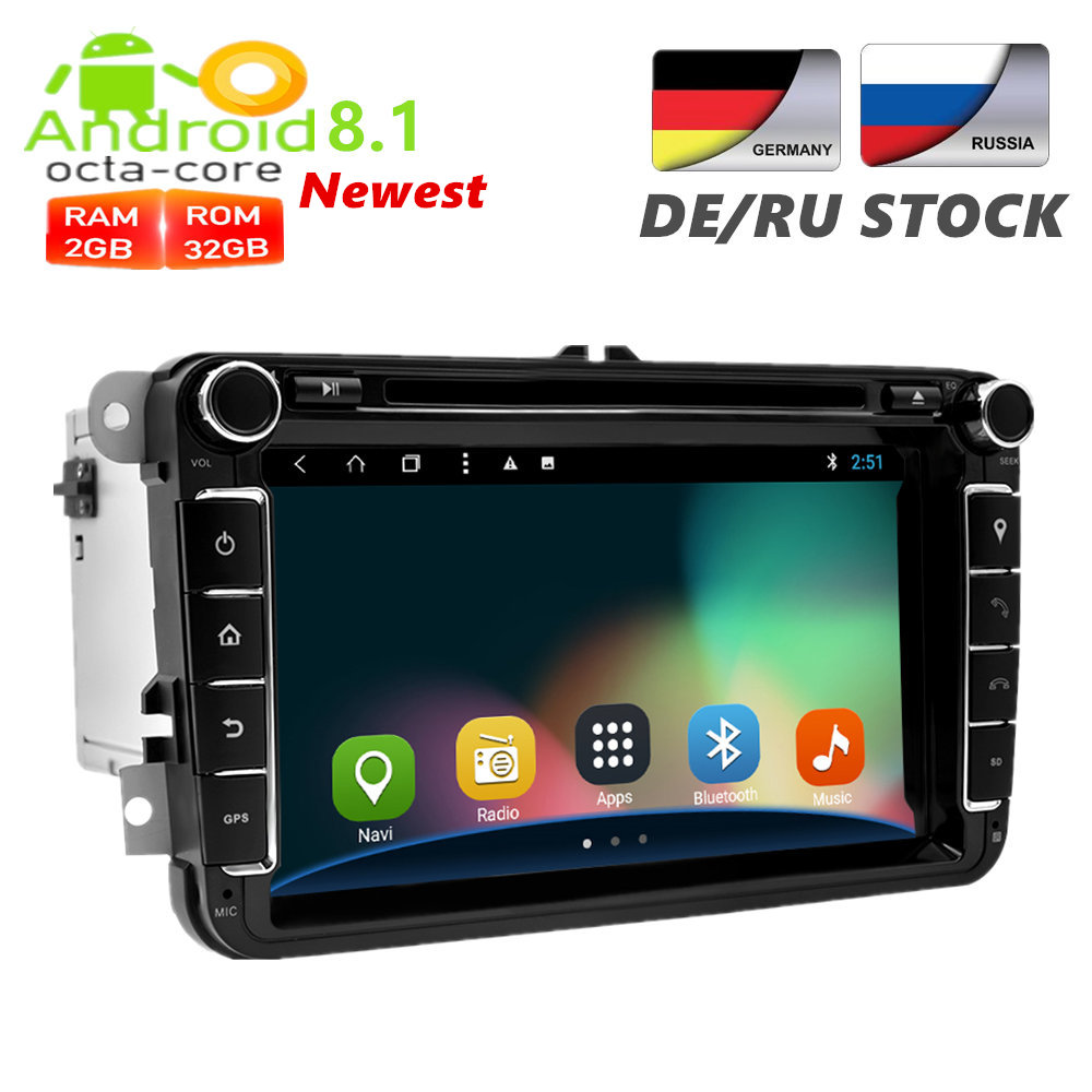 2 Din 8'' Android 8.1 Car GPS Navigation DVD Multimedia Player For Volkswagen/Skoda/Golf/Polo FM Rds Radio Wifi OBD DAB+ Stereo android 8 0 dab autoradio sat navi wifi 3g rds sd dvr obd bluetooth dtv in car gps navigation player for ford transit focus