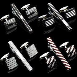 10 estilos de luxo chapeamento metal abotoaduras gravata barra fecho clipe abotoaduras definir presente liso magro gravata clipe pinos barras