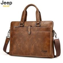 JEEP Förderung Einfache Dot Berühmte Marke Geschäftsleute Aktentasche Tasche Luxus Leder Laptoptasche Mann Umhängetasche bolsa maleta 9616