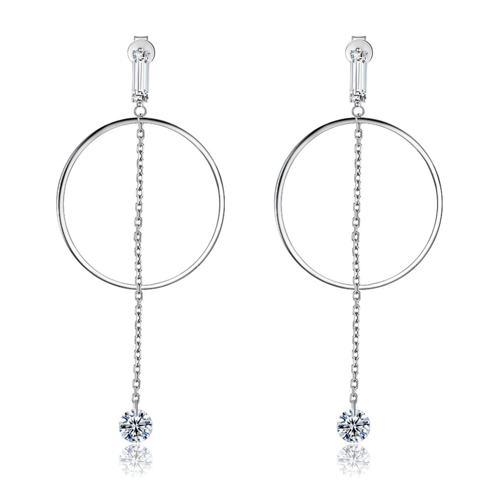 European Sterling silver 925 long earrings zircon earrings women Crystal from Swarovski Simple high-end wedding jewelry earrings