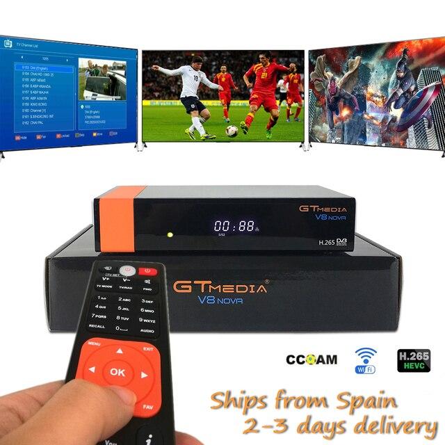 Hot sale Freesat V8 Satellite TV Receiver Gtmedia V8 Nova Built in Wifi 1 Year Clines for Spain DVB-S2 Full HD H.265 Sat Decoder