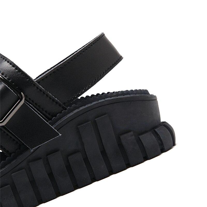 Verano Sandalias Romano Cruzadas blanco De Zapatos Casual Cuero Harajuku blanco Moda Plataforma Negro Nueva 2018 Estilo Correas Mujer Negro CFqdd