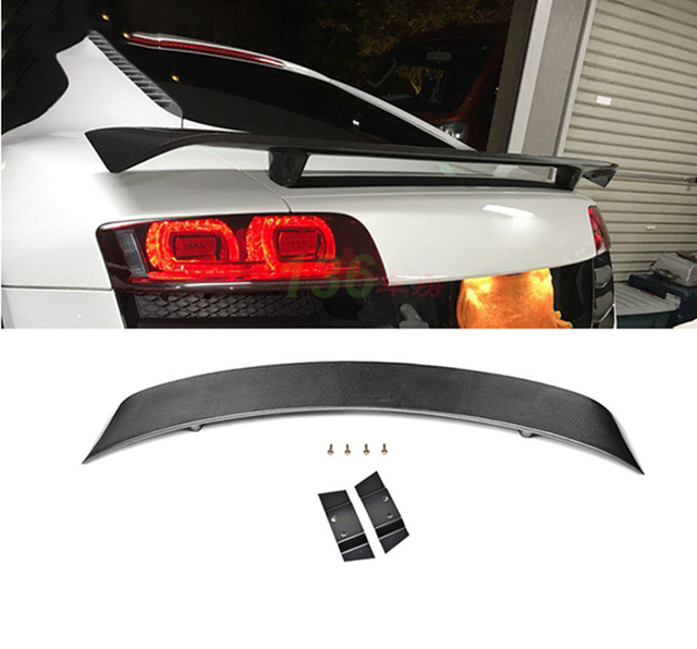 Car Styling Carbon Fiber Exterior Rear Spoiler Tail Trunk Lid Boot Wing Cover Decoration For Audi R8 V8 V10 2008 - 2015 1