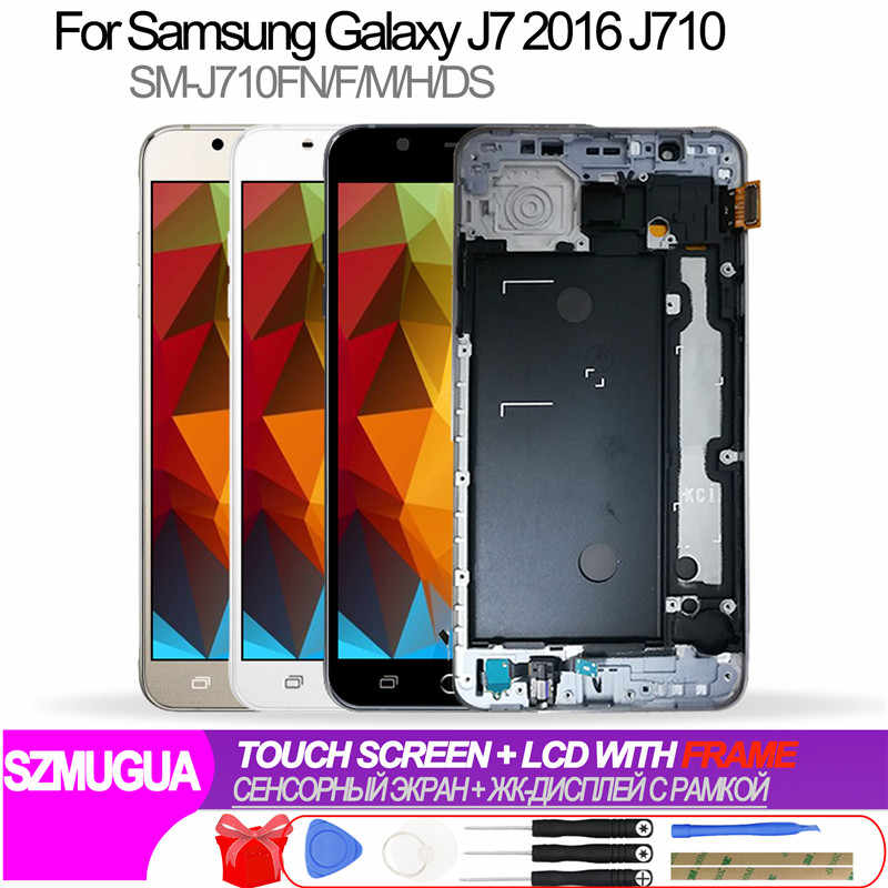 J710 LCD สำหรับ Samsung Galaxy J7 2016 SM-J710FN J710F J710M J710Y J710G J710H Touch Screen Digitizer ปุ่ม Home