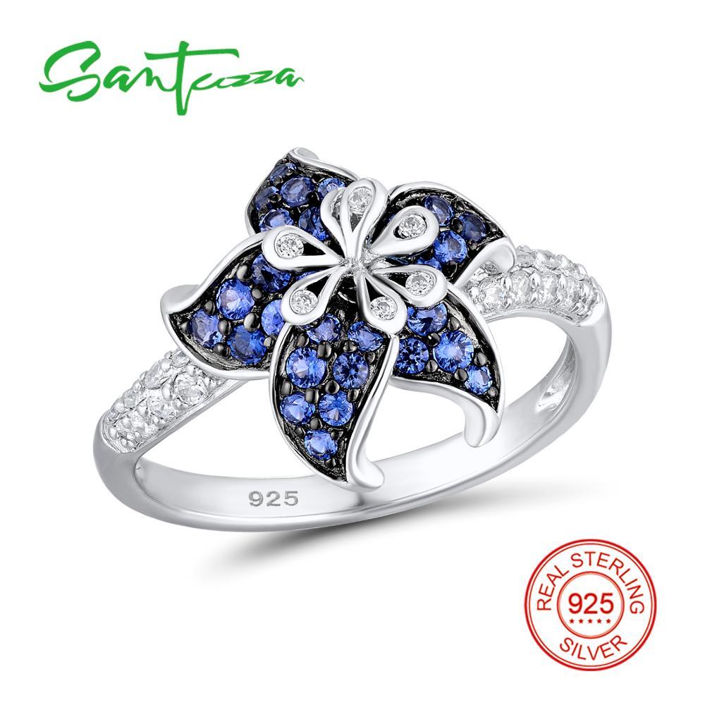 SANTUZZA Silber Blume Ring Für Frauen 925 Sterling Silber Blühende Blume Blau Weiß Zirkonia Exquisite Ring Partei Schmuck