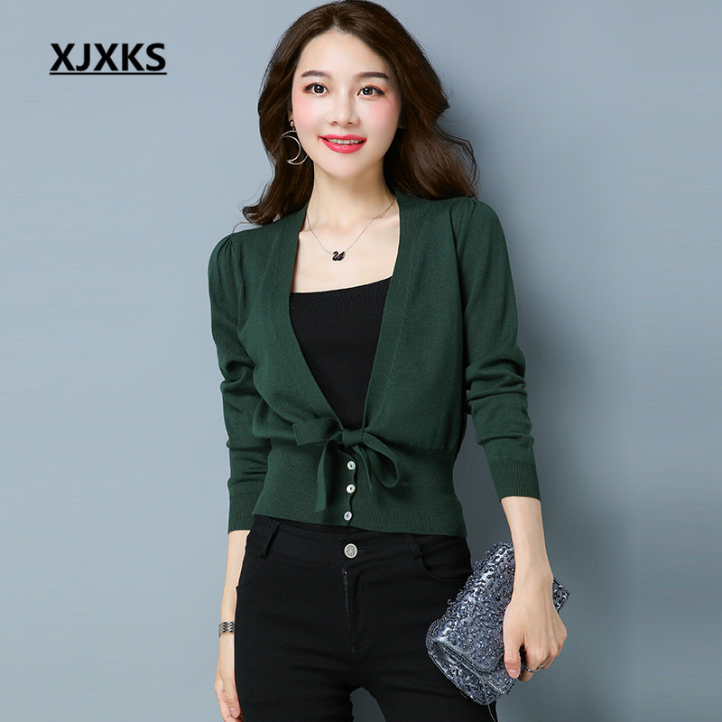XJXKS confortable dames Cardigans chandails M-XXL simple boutonnage solide arc ourlet originalité Sexy col en v chandail manteau