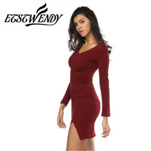 Spring Summer 2018 Fashion Women Dress V-neck Long Sleeve Package Hip Slim Short Dress Stretch Waist Knitted Cotton Sexy Dress